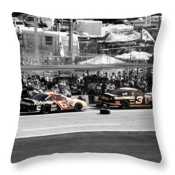 Earnhardt And Martin In The Pits Throw Pillow by John Black