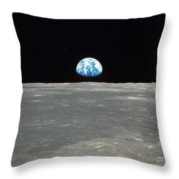 Earth And The Moon Throw Pillow by Stocktrek Images