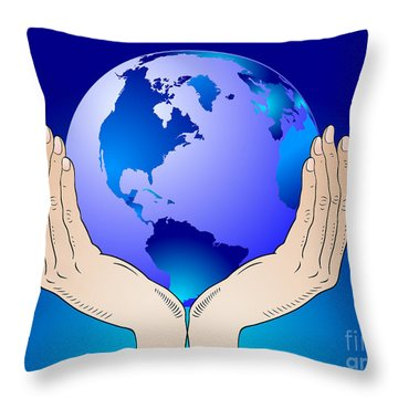 Earth In The Your Hands Throw Pillow by Michal Boubin