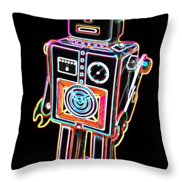 Easel Back Robot Throw Pillow by DB Artist