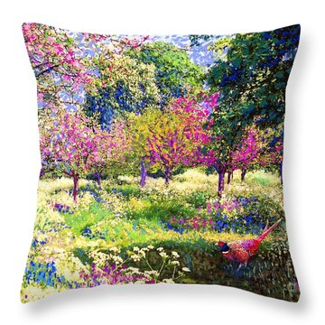 Echoes From Heaven, Spring Orchard Blossom And Pheasant Throw Pillow by Jane Small