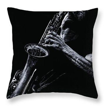 Eclectic Sax Throw Pillow by Richard Young