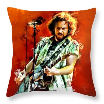 Eddie Vedder Painting Throw Pillow by Scott Wallace