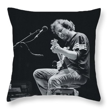 Eddie Vedder Playing Live Throw Pillow by Marco Oliveira