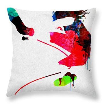 Eddie Watercolor Throw Pillow by Naxart Studio