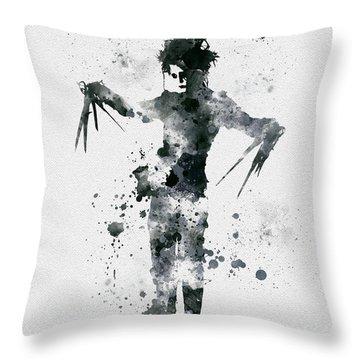 Edward Scissorhands Throw Pillow by Rebecca Jenkins