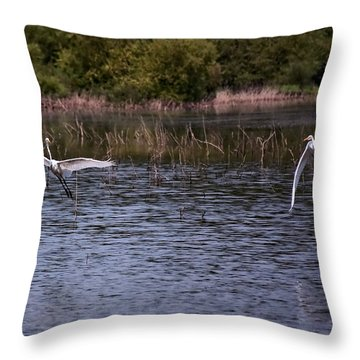 Egrets IIi Throw Pillow by Gary Adkins