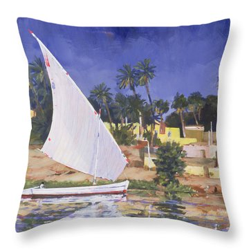Egypt Blue Throw Pillow by Clive Metcalfe