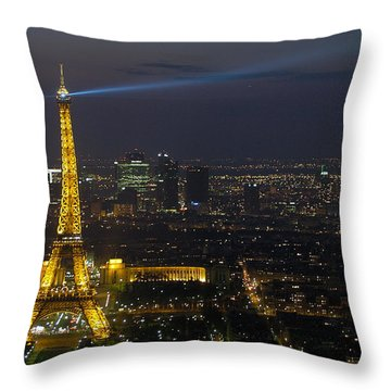 Eiffel Tower At Night Throw Pillow by Sebastian Musial