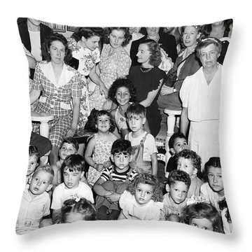 Eleanor Roosevelt And Children Throw Pillow by Underwood Archives