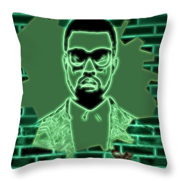 Electric Kanye West Graphic Throw Pillow by Dan Sproul