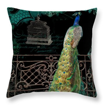 Elegant Peacock Iron Fence W Vintage Scrolls 4 Throw Pillow by Audrey Jeanne Roberts