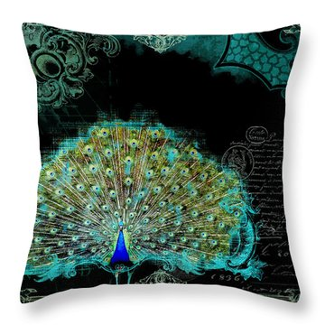 Elegant Peacock W Vintage Scrolls 3 Throw Pillow by Audrey Jeanne Roberts