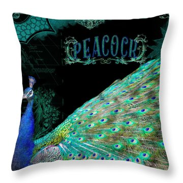Elegant Peacock W Vintage Scrolls Typography 4 Throw Pillow by Audrey Jeanne Roberts