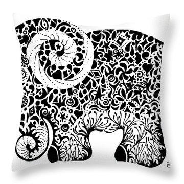 Elephant Doodle Throw Pillow by Jacqueline Eden