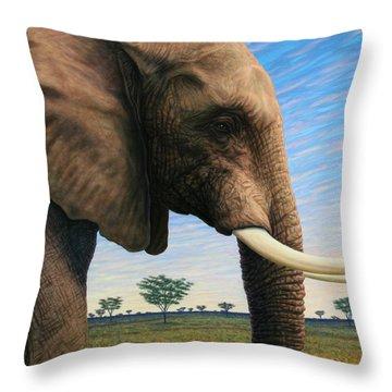 Elephant On Safari Throw Pillow by James W Johnson