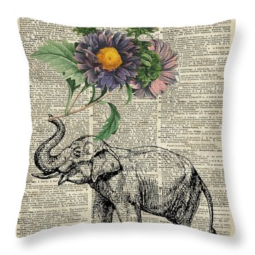 Elephant With Flowers Throw Pillow by Jacob Kuch