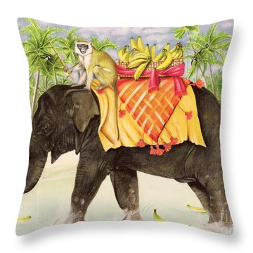 Elephants With Bananas Throw Pillow by EB Watts