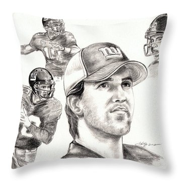 Eli Manning Throw Pillow by Kathleen Kelly Thompson