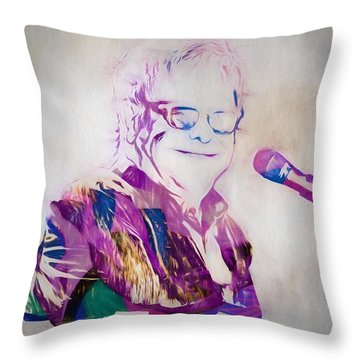 Elton John Throw Pillow by Dan Sproul