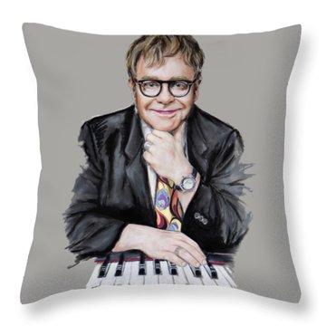 Elton John Throw Pillow by Melanie D