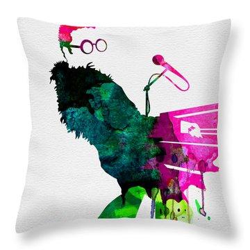 Elton Watercolor Throw Pillow by Naxart Studio