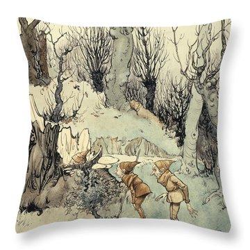 Elves In A Wood Throw Pillow by Arthur Rackham