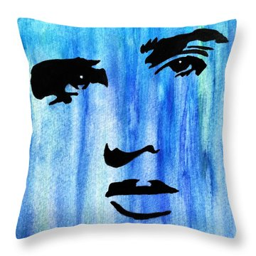 Elvis Presley Blue  Throw Pillow by Shawn Brandon