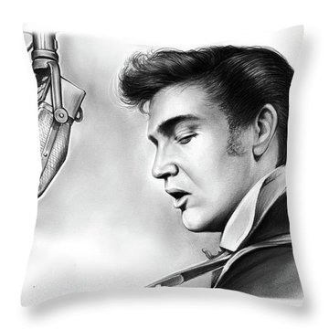 Elvis Presley Throw Pillow by Greg Joens