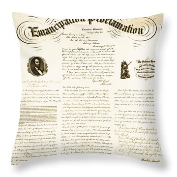 Emancipation Proclamation Throw Pillow by Photo Researchers