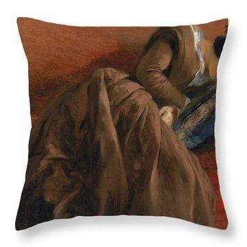 Emilie The Artist's Sister Asleep Throw Pillow by Adolph Friedrich Erdmann von Menzel
