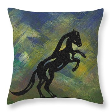 Emma II - Abstract Horse Throw Pillow by Manuel Sueess