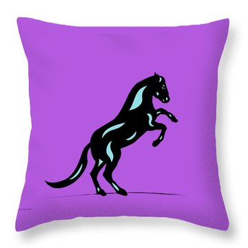 Emma II - Pop Art Horse - Black, Island Paradise Blue, Purple Throw Pillow by Manuel Sueess