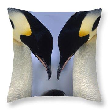 Emperor Penguin Family Throw Pillow by Tui De Roy