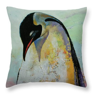 Emperor Penguin Throw Pillow by Michael Creese