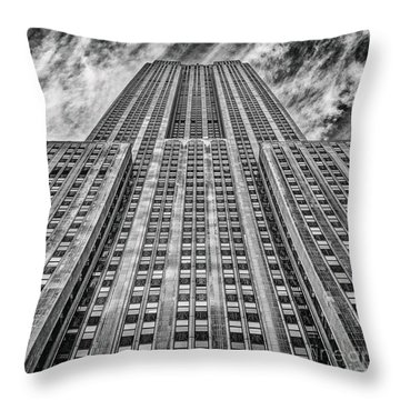 Empire State Building Black And White Square Format Throw Pillow by John Farnan