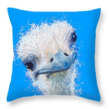 Emu Painting Throw Pillow by Jan Matson