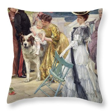 En Famille Throw Pillow by Gustave Grau