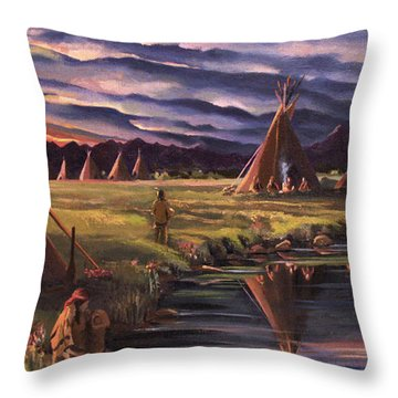 Encampment At Dusk Throw Pillow by Nancy Griswold