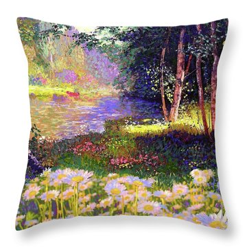 Enchanted By Daisies, Modern Impressionism, Wildflowers, Silver Birch, Aspen Throw Pillow by Jane Small