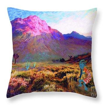 Enchanted Kokopelli Dawn Throw Pillow by Jane Small
