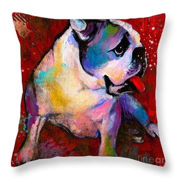 English American Pop Art Bulldog Print Painting Throw Pillow by Svetlana Novikova