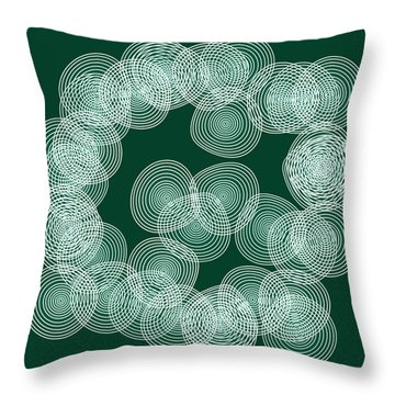 Throw Pillow featuring the painting English Green Abstract Circles Square by Frank Tschakert