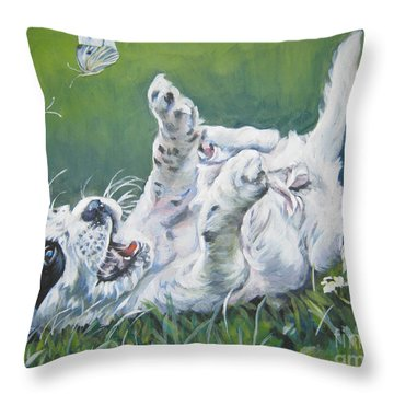 English Setter Puppy And Butterflies Throw Pillow by Lee Ann Shepard