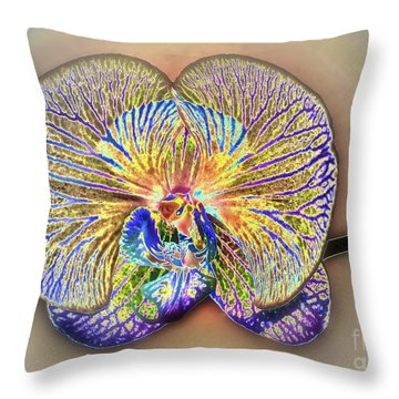 Enlightened Orchid Throw Pillow by Gwyn Newcombe