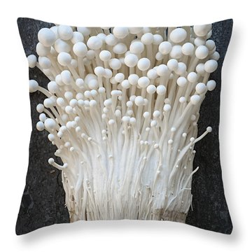 Enoki Mushrooms Throw Pillow by Elena Elisseeva