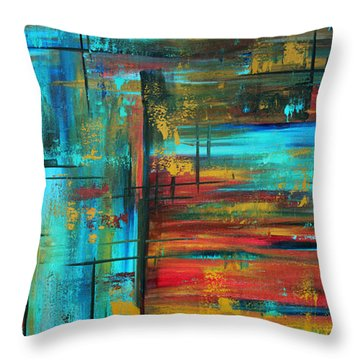 Enormous 3x5 Abstract Art Huge Original Contemporary Painting Into Autumn By Madart Throw Pillow by Megan Duncanson