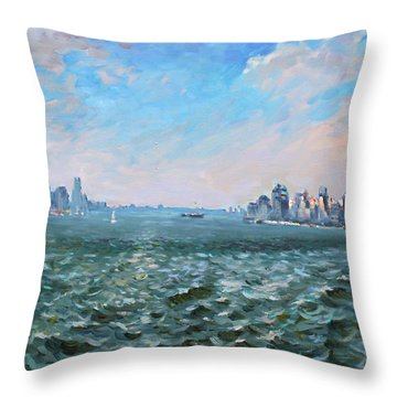 Entering In New York Harbor Throw Pillow by Ylli Haruni