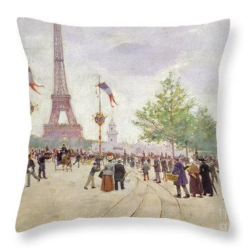 Entrance To The Exposition Universelle Throw Pillow by Jean Beraud