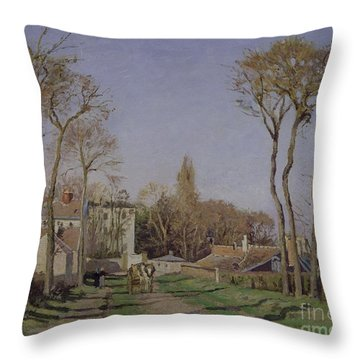 Entrance To The Village Of Voisins Throw Pillow by Camille Pissarro